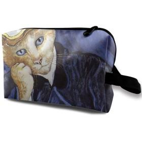 メイクポーチ Dr.Catの肖像 トラベルポーチ シングルファスナーポーチ 大容量 トラベル コンパクト 旅行収納バック 化粧品収納 便利グッズ 旅行・出張・家庭用