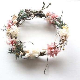 桜いろ紫陽花の春待ちリース