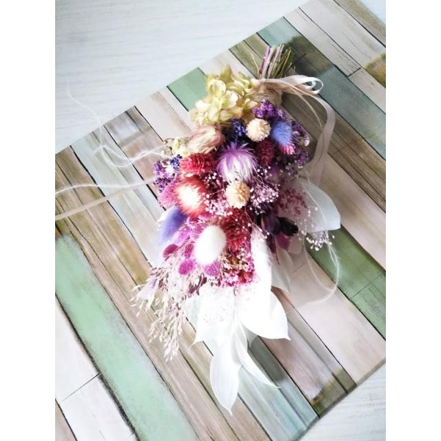 スワッグ ドライフラワー アンティーク 壁飾り 幸福を呼ぶ インテリア雑貨 花束 ラズベリーピンク