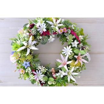 夏草花のリース ピンクと白のダイアモンドリリー:白 ピンク ブルー 草花 敬老の日 お祝い