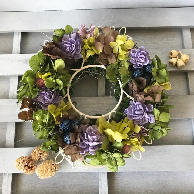 アンティークカラーのリース プリザーブドフラワー ウェディング プレゼント 母の日 結婚祝い 誕生日 新築祝い