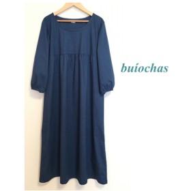 cotton胸元切り替えワンピ-ス(indigo blue)