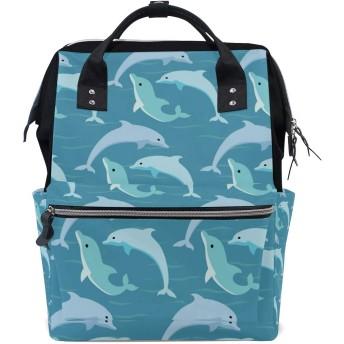 おむつバッグかわいいブルーイルカおむつ バッグ バックパック ママバッグ カジュアル 軽量 大容量 トラベル マミー用