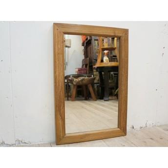 オールドチーク材のミラー 60cm×40cm 壁掛け鏡 チーク無垢材フレーム 古材フレーム 無垢材 古木