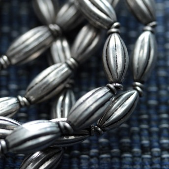 Afghan:white metal vintage beads