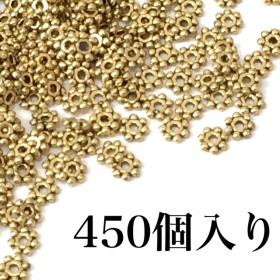 【3】約450個 花形スペーサー アンティークゴールド
