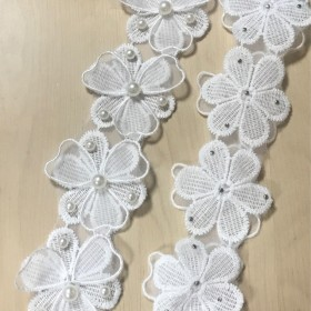 FLOWER LACE TULLE PEARL BRAID PARTS