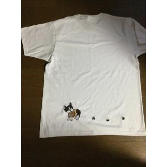 ボストンテリアの手刺繍シャツ2