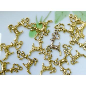 クリスマス トナカイ 10個 チャーム ゴールド2色 A-20-8