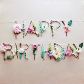 [単品] HAPPY BIRTHDAY フラワー×ウッドガーランド バースデーガーランド 誕生日