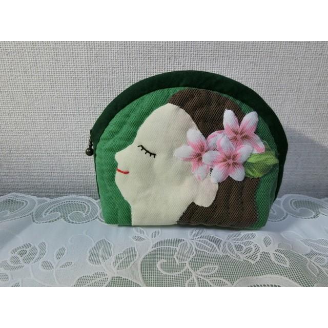 フラガールポーチ・緑・横顔(シャドーキルト)