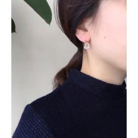 【2018春新作】フランス刺繍糸ビーズ編み込みプチサークルピアス/BEIGE x ICE BLUE