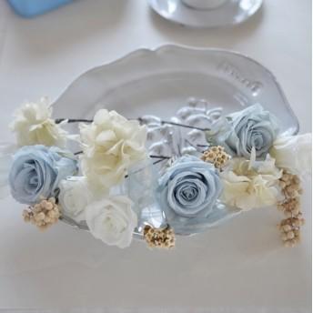サンプルSALE ヘッドドレス ウェディング ペールブルー&ホワイト