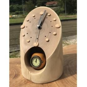 エンジュの切り株 置時計 電波時計です ミニ木球時計付き 動画あり
