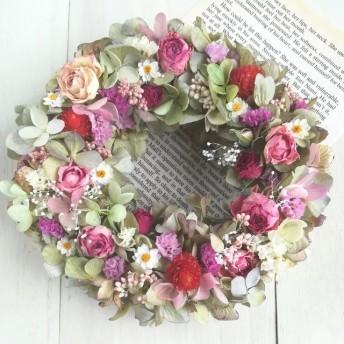 紫陽花と薔薇のフラワーリース E29 ドライ フラワーリース