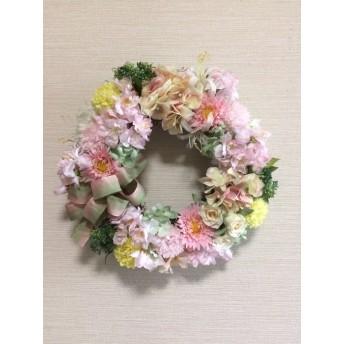 No. wreath-14550/★ギフト/花/玄関リース★/アートフラワー/桜ピンクの春リース/32cm