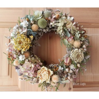 atelier blugra八ヶ岳〜(定形外郵便発送)ミナズキとジニアのWreath
