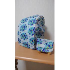 ランドセルレインカバー「花畑のうさぎ」ブルー