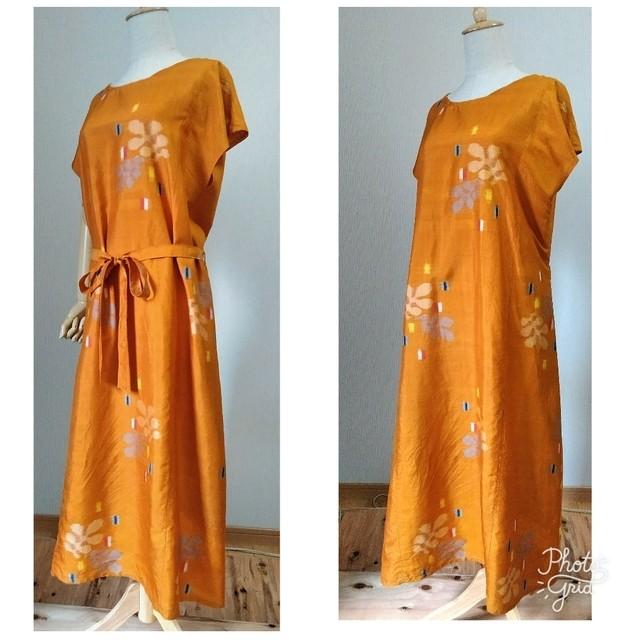 着物リメイク 銘仙 シンプルAラインワンピース フレンチ袖 オレンジ×色々な柄