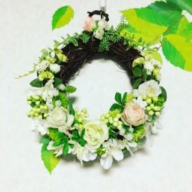 ★フラワーアレンジリース ホワイト&グリーン