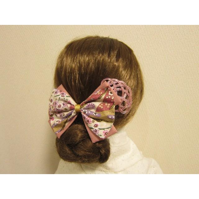 髪飾りリボンと水引かんざし・桃 着物 振袖 袴 浴衣 卒業式 成人式 結婚式