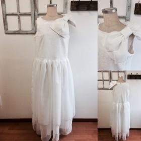 セール価格★大人のシンプル花嫁 ️2wayリボンつきレースとチュールの二次会ウェディングドレス(サイズフリーLサイズ)11号〜13号の方