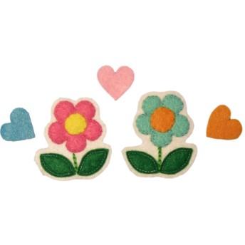 フェルトアップリケワッペン:お花とハート2