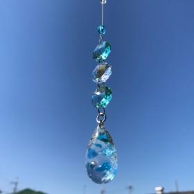 海が好き 琉球ガラスとスワロフスキーのサンキャッチャー(車用可)