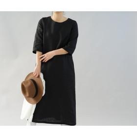 【wafu】中厚 リネン ワンピース ロング丈 ラウンドネック Aライン 7分袖 ドレス / ブラック a032d-bck2
