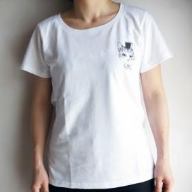 【送料無料・受注生産:納期7-10日】HANA circus original ワンポイント Tシャツ【はちわれ・黒猫・キジトラから選べます】