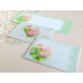 コスモスの和紙ワックスペーパーミニ封筒&メッセージカード