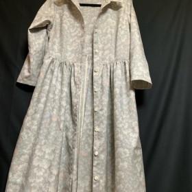 手作り 絹 色大島 春のコート風ワンピース