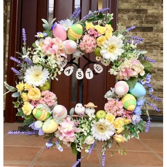 No. wreath-15005/★スプリング・リース(17)イースターリース 大型(ツインバード)45cm・アートフラワー造花リース