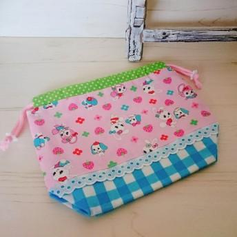 レトロな可愛いアニマル柄の巾着(送料込)