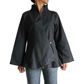 ジョムトン手織綿オリエンタルカシュクールブラウス 黒(BNN-084-01)