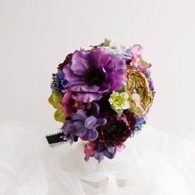 紫のグラデーションのウェディングブーケ
