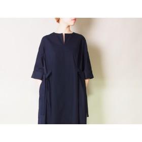 【送料無料】ビッグシルエットの綿100%ワンピース(紺)