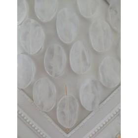 【4個】 ホワイト マーブル クリア 楕円 ビーズ