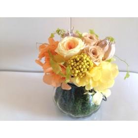 涼しげなガラス花器のアレンジ Barbara(バルバラ)イエローオレンジ プリザーブドフラワーギフト 母の日 花