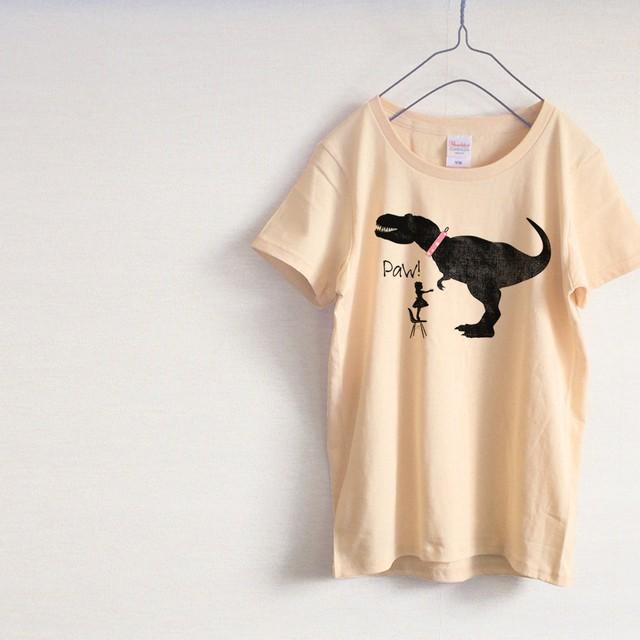 「お手」恐竜 Tシャツ(ナチュラル)
