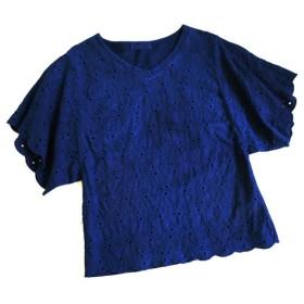 ◆100%自然素材 天然灰汁発酵建て 本藍染◆ カットワーク刺繍トップス