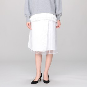 MUVEIL(ミュベール)/デニムサロン付きプリーツスカート