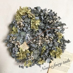 【SALE★30%off】ユーカリとアナベルのナチュラルグリーンな森のリース