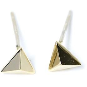 新作【1ペア】925刻印芯!約5mm立体的なプチ三角形光沢ゴールドカン付きピアス、パーツ
