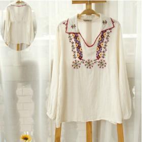木綿ブラウスカラー刺繍