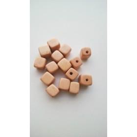 【8mm 10個】ウッドビーズ キューブ(サンドベージュ)