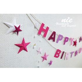 お星さまのお誕生日ガーランド□■市松モヨウ■□ピンク