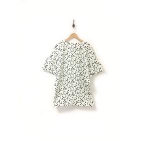 ドット柄のプルオーバー YURURIKO 白×黒