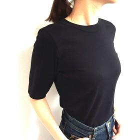 形にこだわった大人の4分袖無地Tシャツ 黒【サイズ展開有】