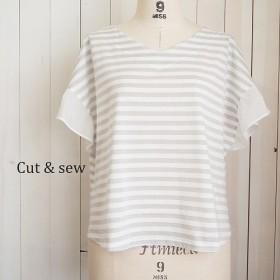 【M】クールコットンラメボーダーTシャツ